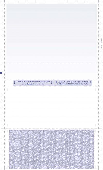 "(RC814BA Face) - 14"" Blue Tint Eccentric C-Fold 2-Way Form / Return envelope"